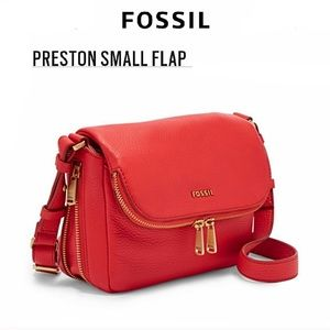 Fossil Preston Small Flap Crossbody in Tomato